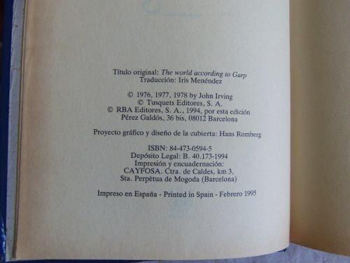 el mundo segun garp john irving libro de la pelicula tapa du