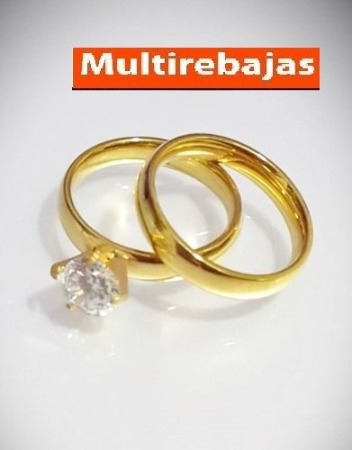 el par anillo compromiso noviazgo acero quirurgico italiano