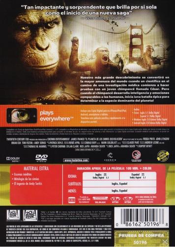 el planeta de los simios ( r ) evolucion pelicula dvd + dig