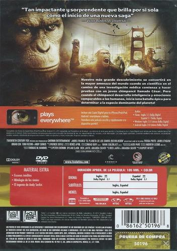 el planeta de los simios revolución dvd nuevo, sellado