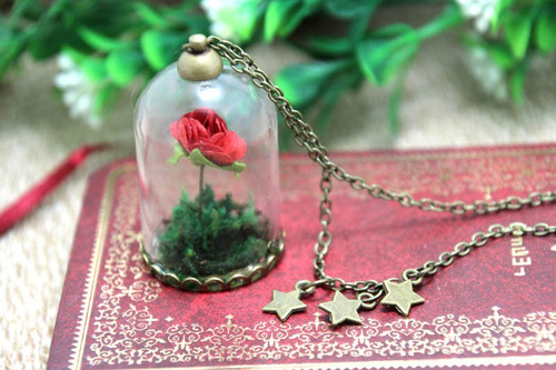 el principito - collar el principito y su rosa