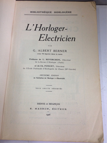 el relojero electricista, g. alberto berner, en francés
