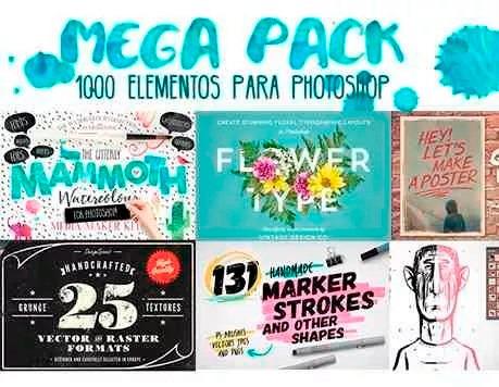 el7p pack 1000 elementos para photoshop diseño grafico