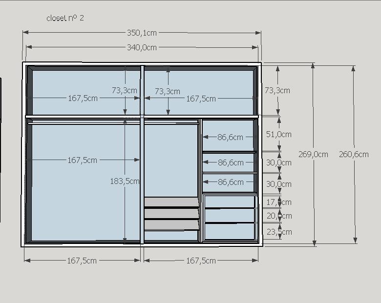 Elaboracion de dise os de cocinas closet ba os oficinas for Diseno de closet medidas