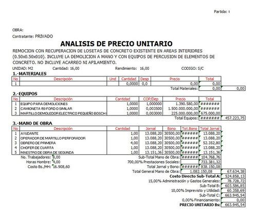 elaboracion de presupuestos, analisis de precios unitarios