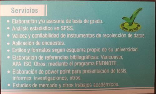 elaboración y/o asesorías de tesis en ciencias de la salud