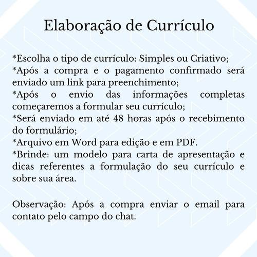 elaboração de currículo profissional