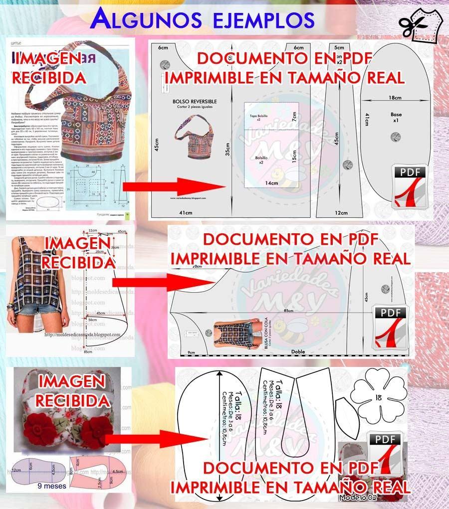 Elaboramos Patrones Moldes De Costura A Tamaño Real Pdf - Bs. 400,00 ...