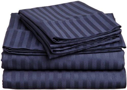 elaine karen 1500 juego de sábanas striped 4pc queen, navy