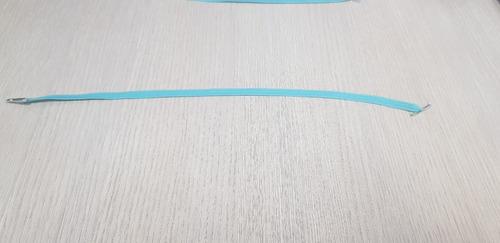 elástico chato 33 cm azul tiffany c/ ponteira metal - 100 un