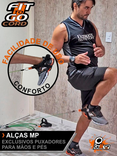 elástico para exercícios fittogo cord 40kg (látex revestido)