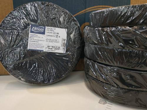 elastico plano 24 mm negro zanotti jaragua 25 x 25 metros