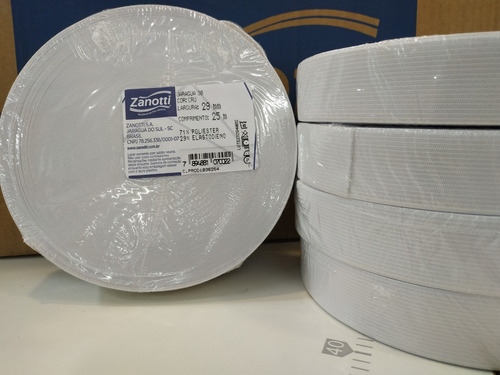 elastico plano 29 mm blanco  zanotti jaragua 30 x 25 metros