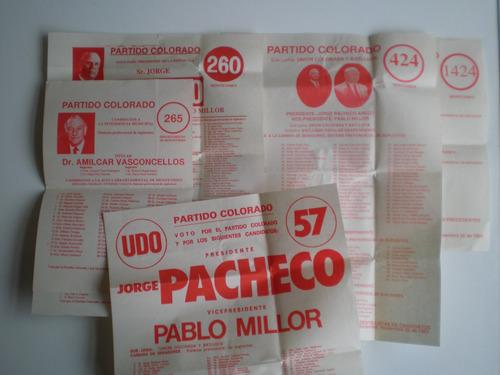 eleccion 1989 partido colorado 7 listas pacheco presiden c/u