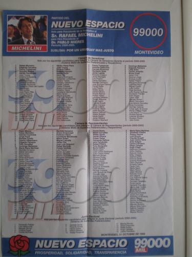 eleccion 1999 partido nuevo espacio listas 1999 y 99000 c/u