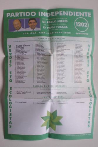 eleccion 2004 partido independiente lista 1202 verde etoecol