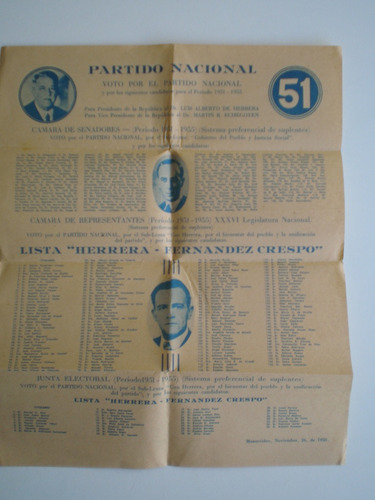 elecciones 1950 lista 51 partido nacional d fernández crespo