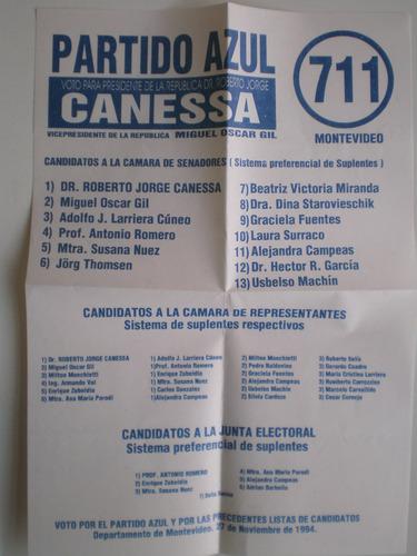 elecciones 1994 partido azul lista 711  1711 roberto canessa