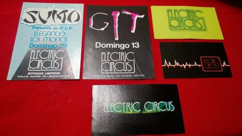 electric circus  lote x 5 tarjetas y publicidades años 80