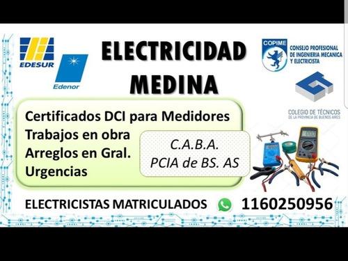electricidad medina.certificado dci.medidores.matriculados