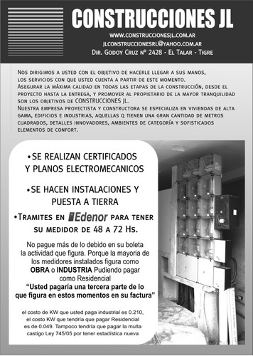 electricista matriculado - gasista matriculado - mmo