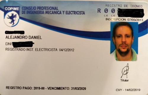 electricista matriculado urgencias cap,fed. presupuesto s/c