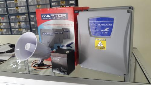 electrificador cerca electrica raptor + sirena + bateria