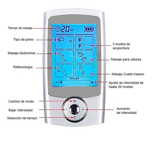 electro estimulador vak 3013 tens 16 modos masaje recargable