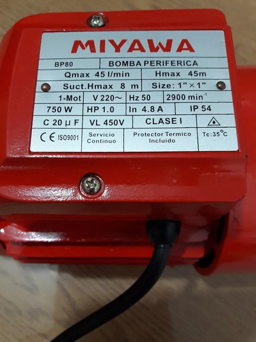 electrobomba periférica miyawa 1hp caudal máximo 45l/min