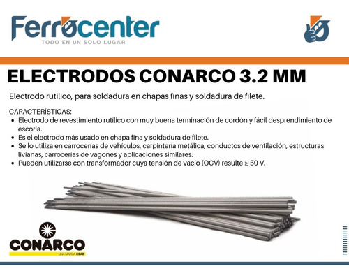 electrodo 3.2 mm esab conarco 13 a punta azul x kg - cuotas!