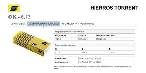 electrodo esab conarco ok 2,5 mm x caja 20 kg 13a punta azul