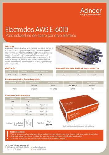 electrodos soldar acindar (6013) punta azul x 3,25 mm en caja de 25 kg. rutílico calidad similar conarco 13a gramabi