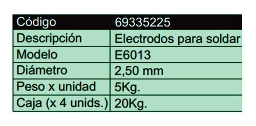 electrodos soldar duca e6013 2,5mm 20 kg punta azul + discos