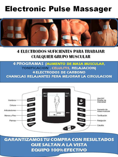 electroestimulador gimnasia pasiva + chanclas de relajacion
