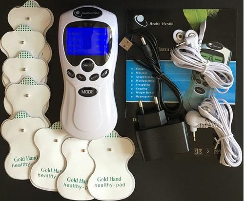 electroestimulador portatil 8 electrodos bateria recargable