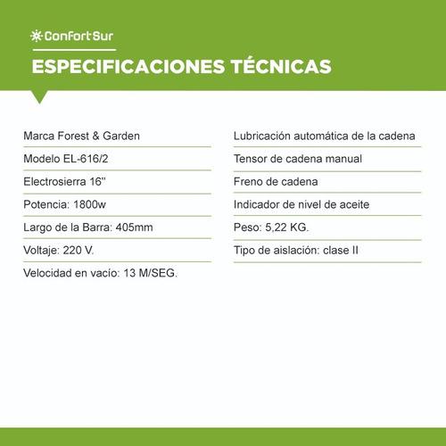 electrosierra forest and garden 1800w barra 405mm 16