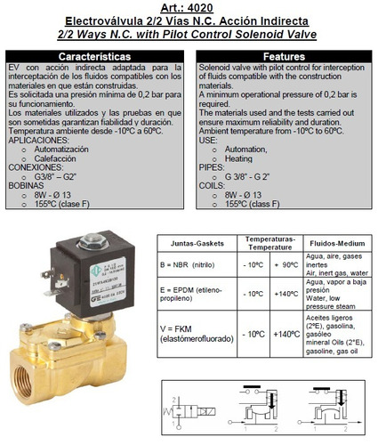 electroválvula genebre 1/2  nc c/ bobina y conector. art4020