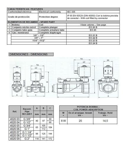 electroválvula genebre 3/4  nc c/ bobina y conector. art4020