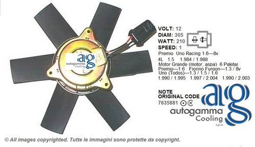 electroventilador radiador autogamma fiat premio 1.500cc