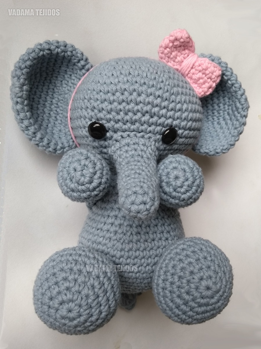 Elefante Sentado Amigurumi | Elo7 | 1200x899