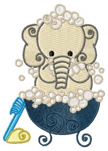 Elefante Hora Do Banho - Coleção De Matriz De Bordado - R  15 b233478901a