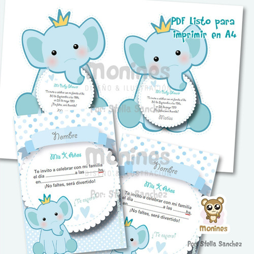 elefante kit imprimible cumples, babyshower ¡texto editable!