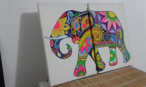 elefante lienzo díptico acrílico