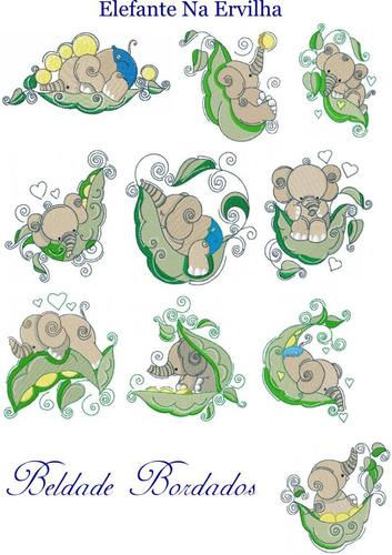 elefante na ervilha - coleção de matriz de bordado