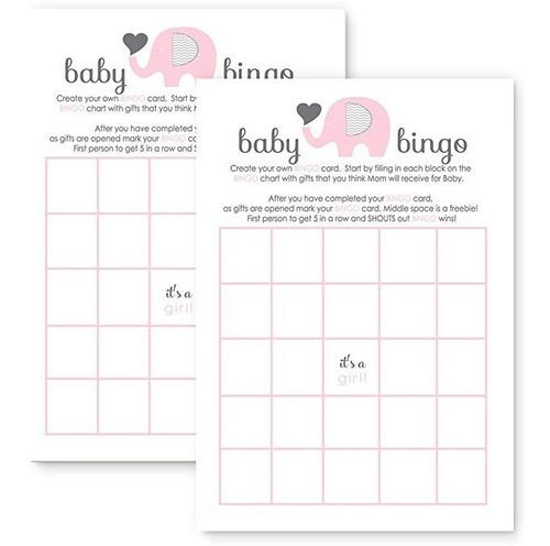 elefante rosa baby shower bingo tarjetas juego fill-in juego