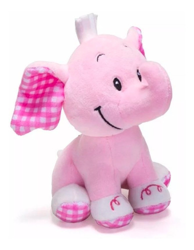 elefante rosa de pelúcia chocalho infantil promoção