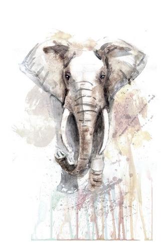 elefante tipo acuarela, cuadro decorativo lienzo canvas