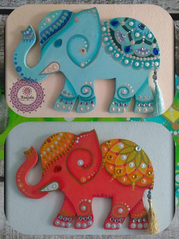 Elefantes Hindúes Pintados A Mano Con Acrílicos Sobre Mdf 449
