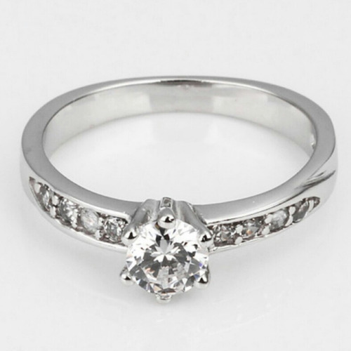elegante anillo de compromiso en oro blanco plata promocion