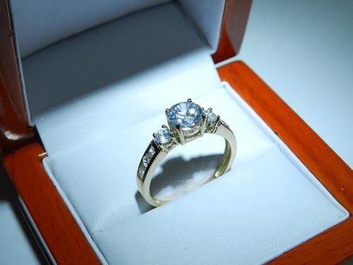 elegante anillo de compromiso oro amarillo 10k envio gratis